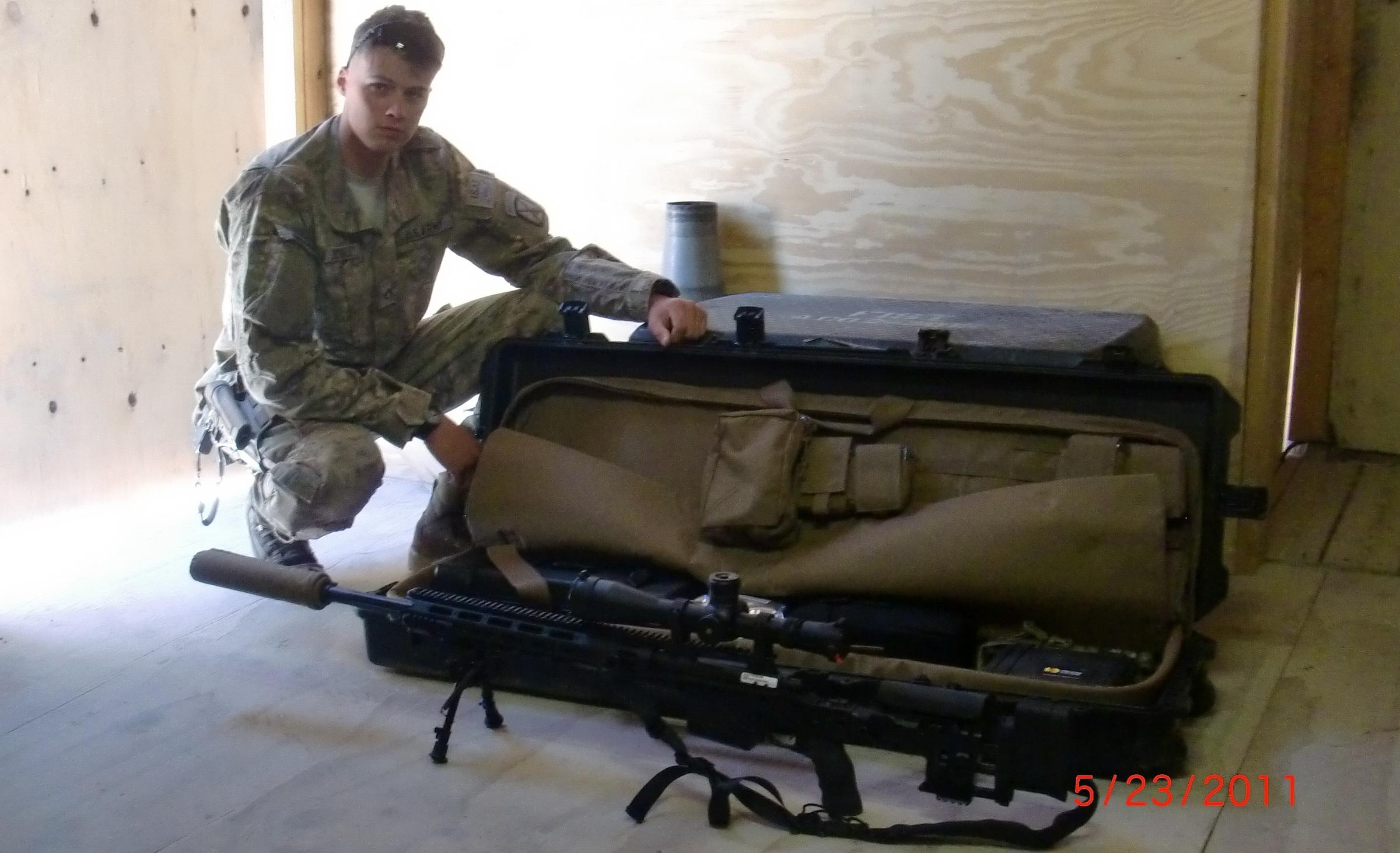 Corey Schultz with XM2010 Sniper Rifle